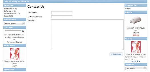 The default contact us form in osCommerce
