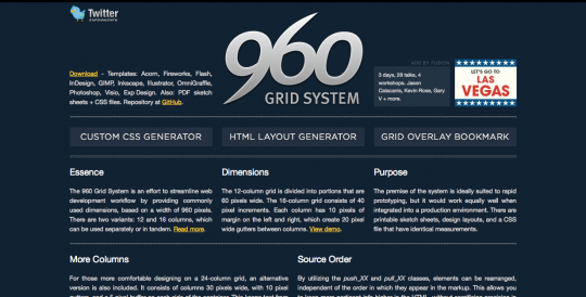 The website of the 960gs grid system that is used in osCommerce 2.3.1