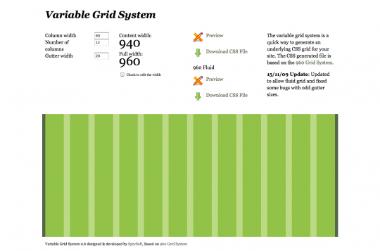 online css generator for the 960gs grid system