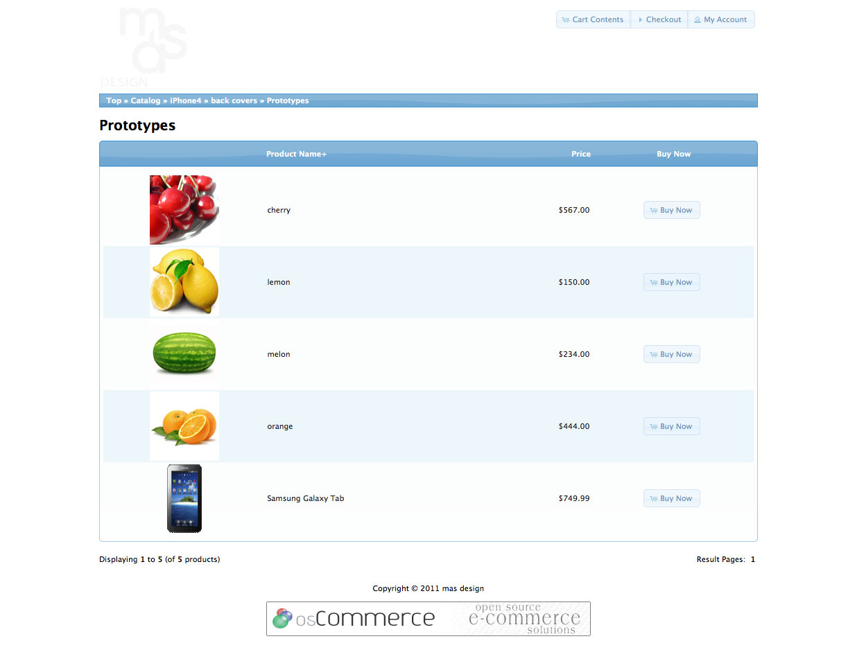 Default Product Listing In OsCommerce  Product List Template