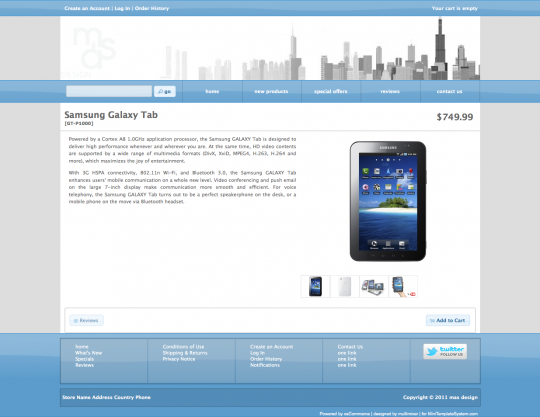 The product information page in osCommerce using mini template system