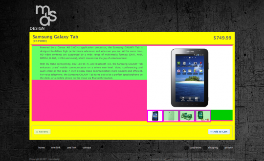 Using strong background colors to visualize the various areas of the product information page