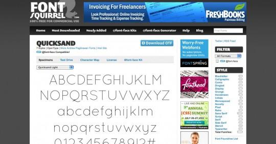 Font type details