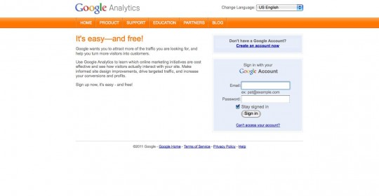 Login to the google analytics website or create a new account