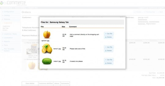 Upload details on the order details page in admin