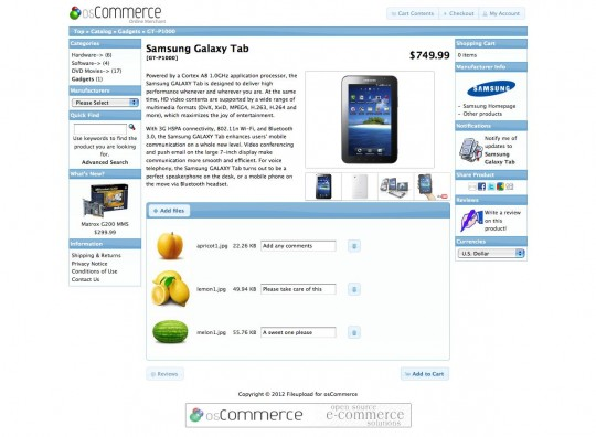 Product information page with previews of the uploaded files