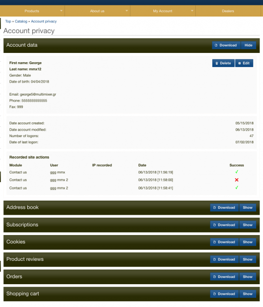 gdpr oscommerce account module