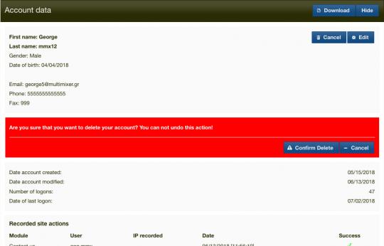 gdpr oscommerce delete account