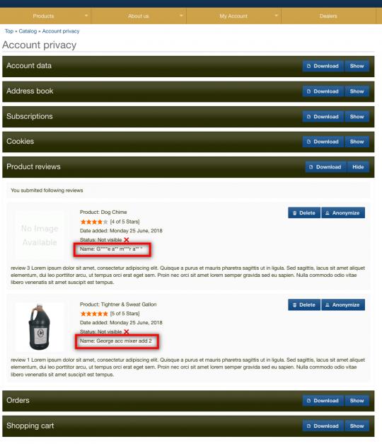 gdpr oscommerce reviews module