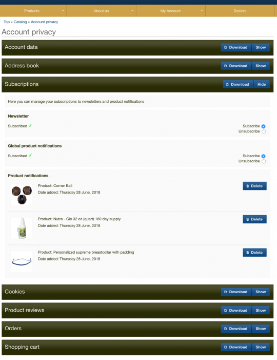 gdpr oscommerce subscriptions module